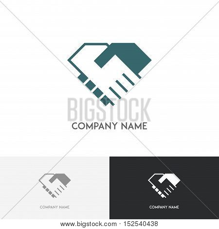 Handshake logo - business partners shake hands with each other simple symbol on the white background