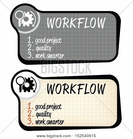 Set of two vector text frames and graph paper and the words workflow