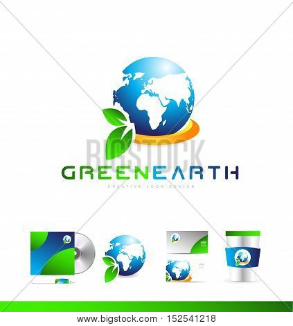 Planet earth globe green leaf planet ecology ecological vector logo icon sign design template corporate identity