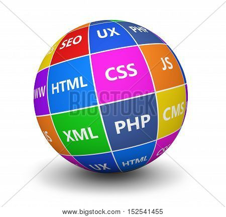 Web design and digital media development concept with programming languages sign on a colorful globe 3d illustration.
