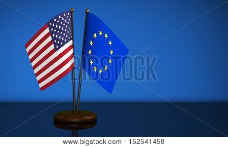 USA and European Union desk flags on blue background 3D illustration.