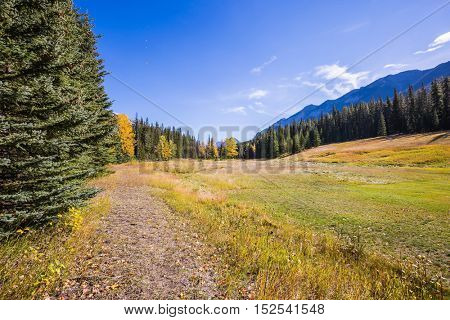 Mountain valley in Banff National Park. Autumn day in the Canadian Rockies