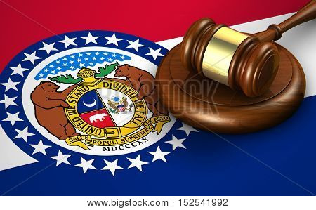 Missouri US state law legal system and justice concept with a 3d rendering of a gavel on the Missourian flag on background.