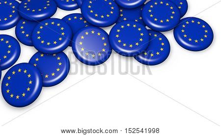 European Union flag on badges 3d illustration on white background with copy space.