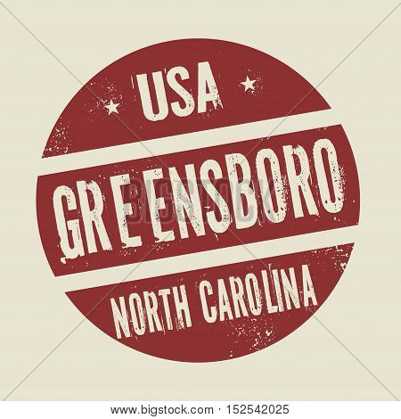 Grunge vintage round stamp with text Greensboro North Carolina vector illustration