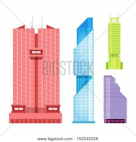Skyscrapers icons set in detailed flat style. Modern futuristic vector illustration