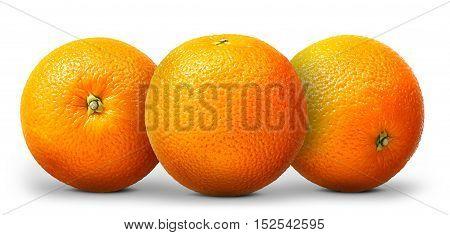Group of orange fruit isolated on white background.