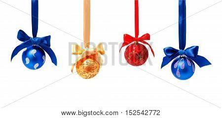 Collection of photos hunging christmas balls isolated on a white background