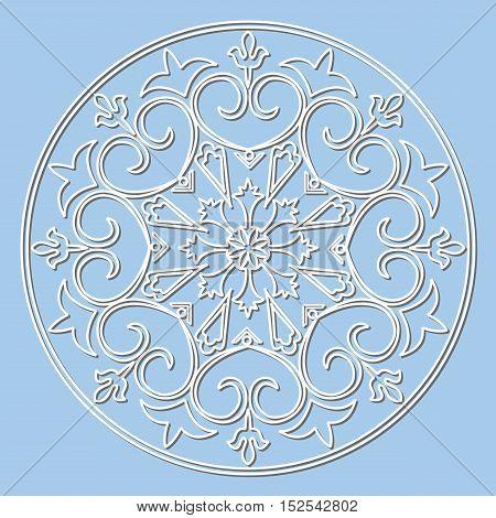 Vector decorative element mandala snowflake paper lace doily snowflake laser cut round ornament.