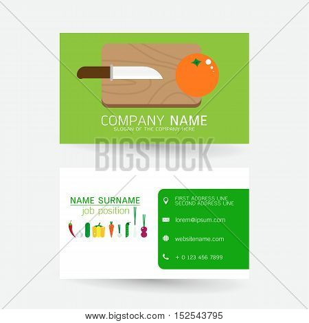 vector Modern simple light business card template with flat user interface on gray background