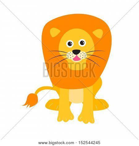 Cute lion vector illustration. Cartoon lion wild safari animal for kid t-shirt prints and apparel.