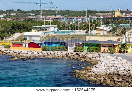 Many Colorful Bungalows in the Curacao Harbor