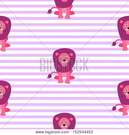 Cute lion seamless vector pattern. Cartoon pink lion wild safari animal on striped background for kid textile prints and apparel.