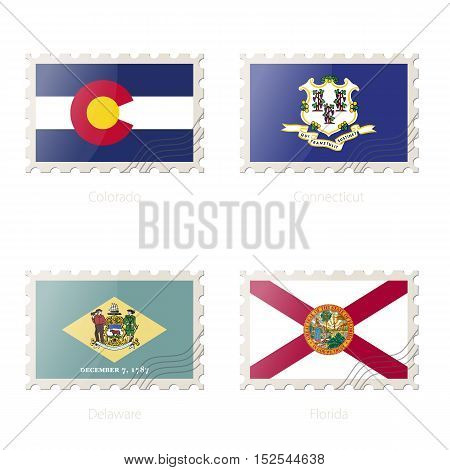 Postage Stamp With The Image Of Colorado, Connecticut, Delaware, Florida State Flag.