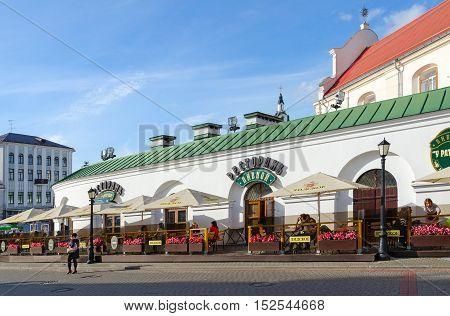 MINSK BELARUS - OCTOBER 1 2016: Unidentified people visit beer restaurant