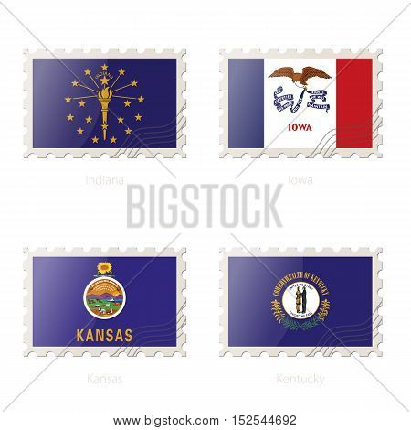 Postage Stamp With The Image Of Indiana, Iowa, Kansas, Kentucky State Flag.