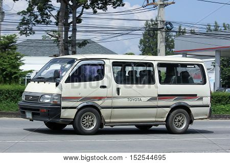 CHIANGMAI THAILAND - OCTOBER 6 2016: Private Toyota Hiace old Van Car. On road no.1001 8 km from Chiangmai city.