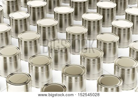 Many tin cans on white background, 3D illustration