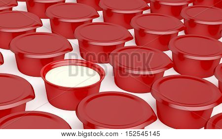 Multiple rows of plastic containers for margarine butter or cream cheese, 3D illustration
