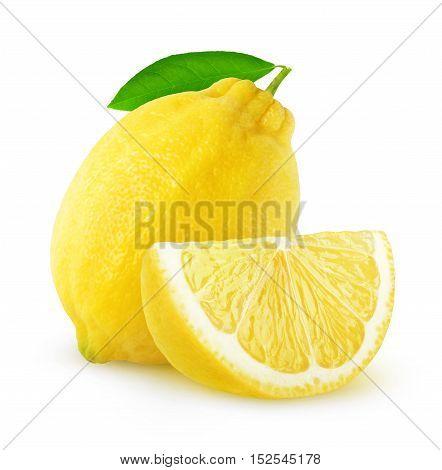 Isolated Cut Lemon Fruit