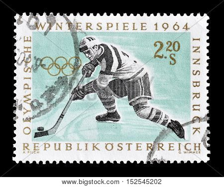 AUSTRIA - CIRCA 1964 : Cancelled postage stamp printed by Austria, that shows Hockey.
