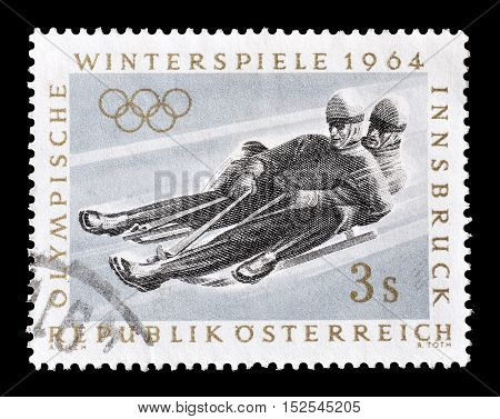 AUSTRIA - CIRCA 1964 : Cancelled postage stamp printed by Austria, that shows Bob sleigh.