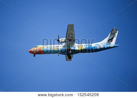 CHIANGMAI, THAILAND -OCTOBER 7 2015: HS-PGF ATR72-200 of Bangkokairway. Landing to Chiangmai airport from Yangoon, Myanmar.