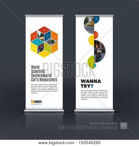 Vector set of modern roll up banner stand design with rhombus, rectangle for business, finance and construction. Brochure and presentation for exhibition and show.