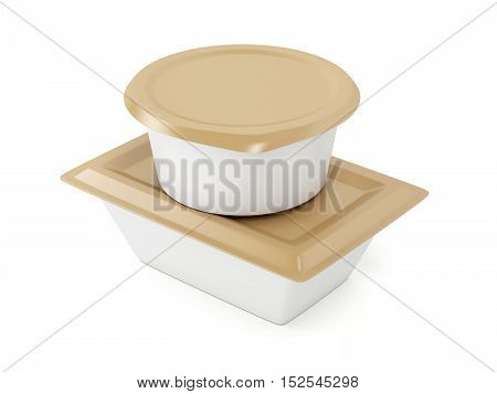 Plastic containers for various types of food, 3D illustration