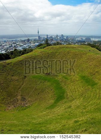 Auckland crater of Volcano with the city view backgrund