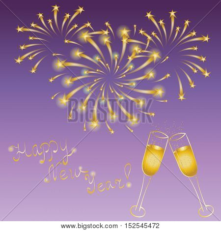 Happy New Year! Hand Drawn Golden Couple of Wineglasses and Firework. Perfect for Your Festive Design. Vector Illustration