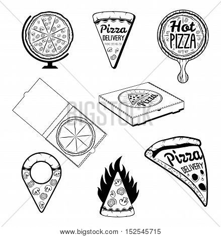 Pizza. Italian Food. Food delivery. The Pizza Restaurant. Set of Labels and Badges. Map point, Slice of Pizza, Pizza Delivery Box. Vector Illustration
