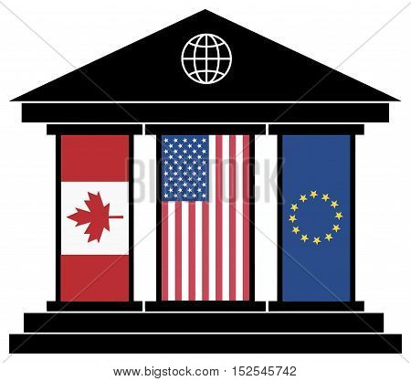 TTIP CETA Trade Agreement. Symbol of the global power of the financial partnership between America, Canada and the European Union