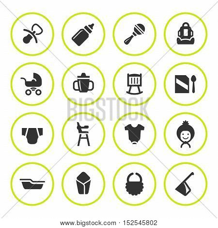 Set round icons of newborn baby isolated on white. Vector illustration