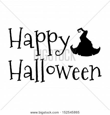Happy Halloween. Witch Hat. Holiday Greeting Card. Vector Illustration