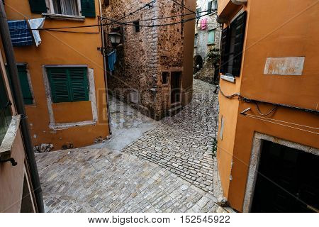 Crossroads of several streets in the historic center of the European city of Rovinj, Croatia.