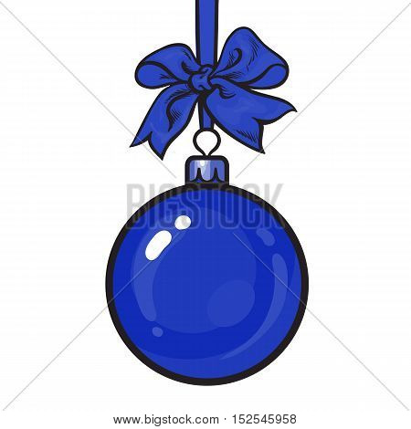 Blue Christmas ball with blue ribbon and bow, sketch style vector illustration isolated on white background. Shiny Christmas decoration ball of solid red color