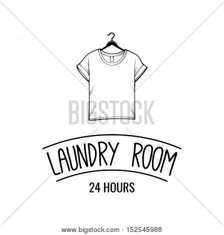 T-shirt laundry and dry cleaning logo, emblem and design element. t-shirt. Vector Illustration