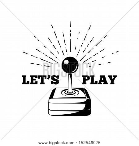 Retro joystick. Let s Play. Arcade Room. vector illustration