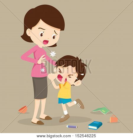 Angry Boy Hitting  Mother