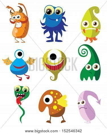 Large vector set of drawings of different characters isolated monsters