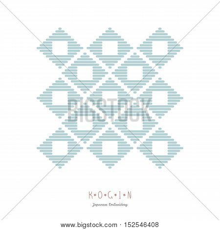 Card for text. Japanese Kogin embroidery style. Traditional pattern Ishi-datami. Abstract illustration. Simple geometric ornament.