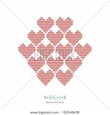 Frame for text with hearts. Abstract illustration. Abstract illustration. Simple geometric ornament. Bunch of hearts. Can be Valentine postcard.