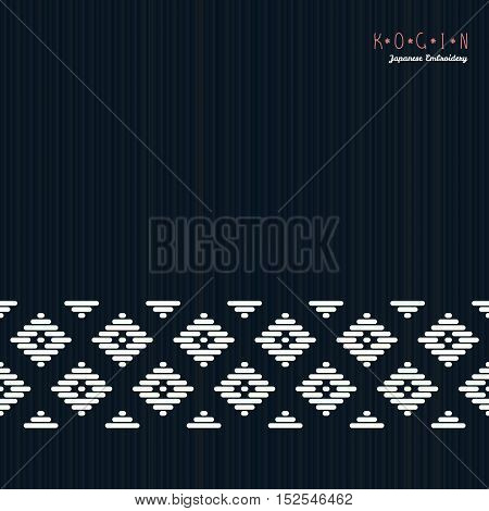 Text Frame. Japanese Kogin Embroidery. Seamless.
