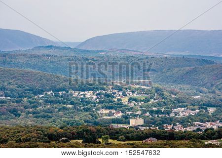 A scenic view of the Lehigh Valley from Flagstaff Mountain in Jim Thorpe Pennsylvania.