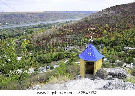 Ancient monastery. orthodox monastery Saharna Republic of Moldova. Chapel on top mother of God trail foot on a stone.