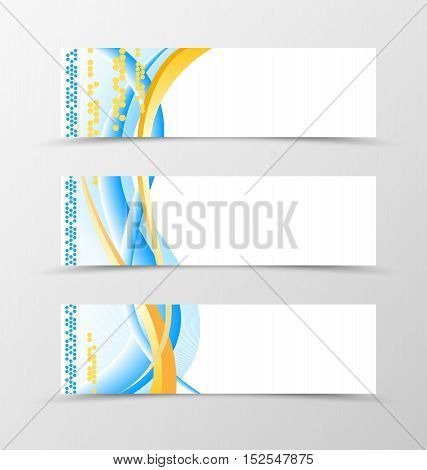 Set of banner smooth design. Blue banner for header with yellow lines, hexagons and circles . Design of banner in wavy style. Vector illustration