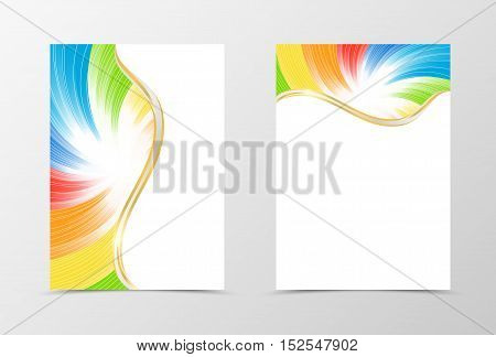 Rainbow flyer template design. Abstract flyer template in rainbow color with white lines. Spectrum flyer design. Vector illustration