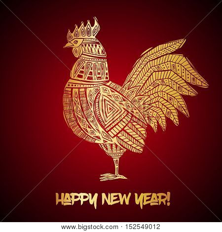New Year greeting card with Gold Rooster. Chinese new year 2017 - Rooster Year. Vector illustration