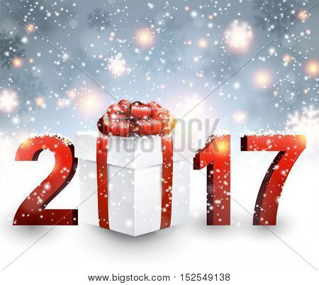 2017 New Year background with gift ans snow. Vector illustration.